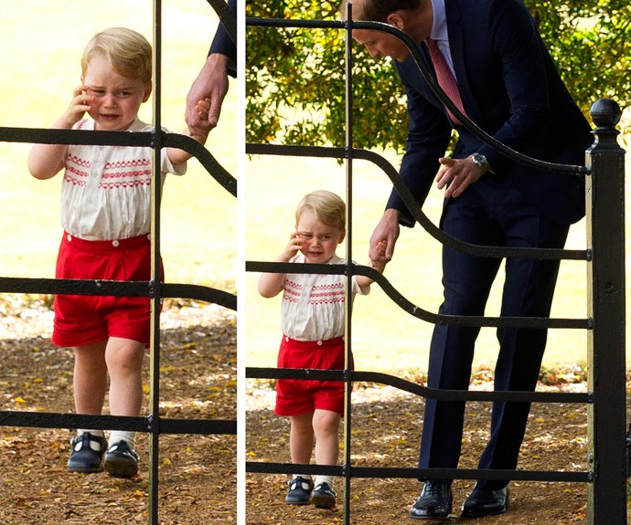 Sometimes, it can all get a bit too much! George has a cry at his sister's christening in 2015.