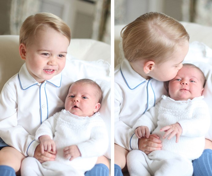 Kisses for Charlotte! Shortly after her birth in 2015, George showed off his impressive big brother skills in these touching portraits.