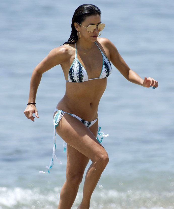 Follow Eva Longoria's regime and take a slow jog on the beach to help along that muscle tone.