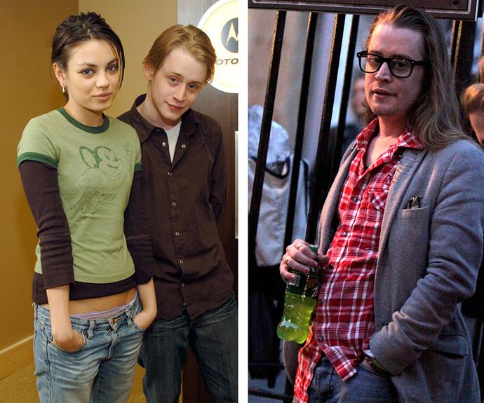 Then and now: Macaulay, pictured with his girlfriend at the time Mila Kunis back in 2004, looks markedly different.