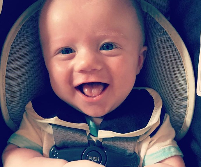 "The 34-year-old welcome Remy three months ago and he is already growing up so quickly! Sharing a snap of her smiling bub, Kelly revealed, ""This pic was literally taken right after #remy got a shot today #wemakeunicornbabies #RemyBaintworried!"""
