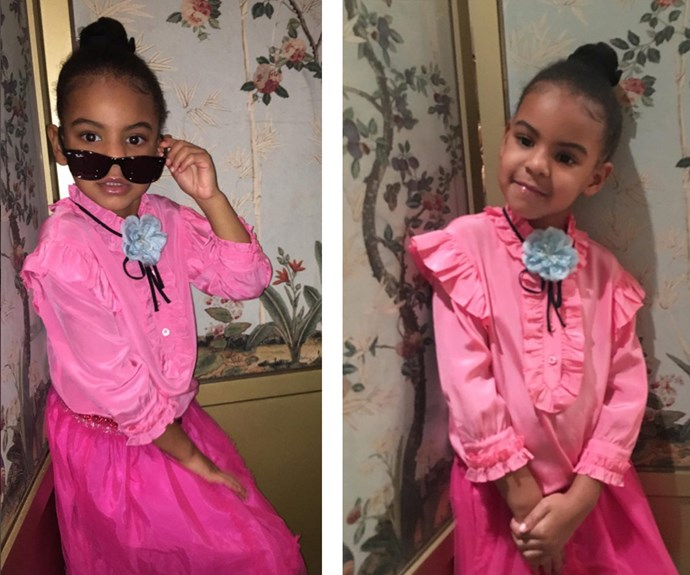"""Solange Knowles AKA the coolest auntie ever, has shared these two sassy snaps of her adorable niece, Blue Ivy. """"Gucci campaigns can't even touch her w a pinky toe...."""" she captioned."""