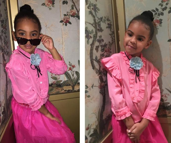 "Solange Knowles AKA the coolest auntie ever, has shared these two sassy snaps of her adorable niece, Blue Ivy. ""Gucci campaigns can't even touch her w a pinky toe...."" she captioned."
