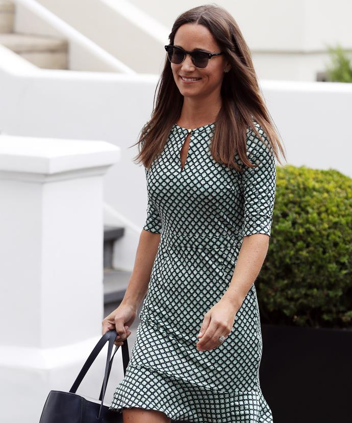Pippa stepped out and couldn't help flashing that ring!
