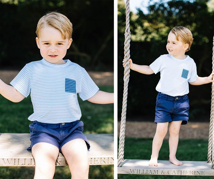 Last year, to commemorate his third birthday the royal family released these stunning new shots, taken by Matt Porteous. In this image, George plays on a swing that has his parents' names engraved on it. (Image/Matt Porteous)