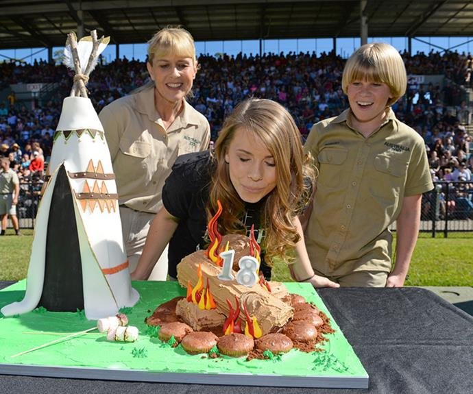 As thousands of excited fans watched, Bindi blew out the candles on her 18th birthday cake.