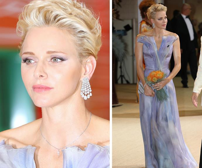 The 38-year-old mother of two showed that no tiara is needed to command a royal presence. She wore a mystical lilac and blue floor length gown.