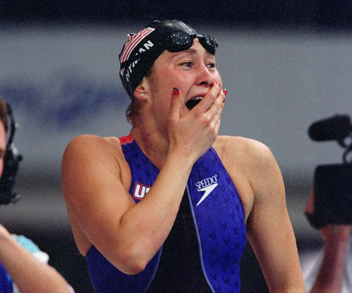 "Even Misty Hyman herself couldn't believe that she'd beaten Susie ""Madame Butterfly"" O'Neill to take out gold during the final of the 200m butterfly at the 2000 Sydney Olympics. Just look at that face!"