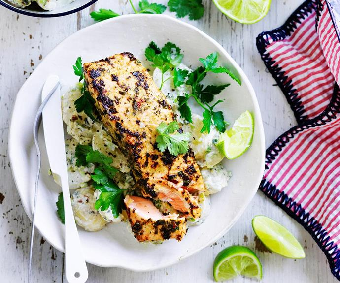 "This tasty [jerk salmon with yogurt potato recipe](http://www.foodtolove.com.au/recipes/jerk-salmon-with-yoghurt-potatoes-18553 target=""_blank"") will do the trick!"
