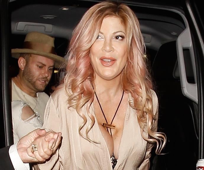 "All eyes were on Tori Spelling's plunging neckline when she stepped out in LA this week. The actress admits she's too scared to go under the knife to have her botched breast implants amended. ""I have the biggest fear of going under for surgery. I'm so scared of being put to sleep,"" the 43-year-old revealed on her show, *True Tori*."