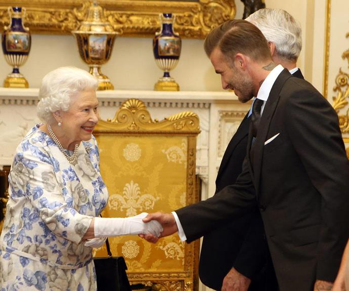 **David Beckham, 2016** The dapper sports star had the honour of meeting Her Majesty at a function for Young Leaders of 2016 earlier this year.