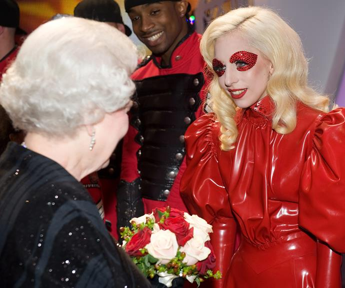 **Lady Gaga, 2009** The matriarch met the eccentric songstress after a Royal Variety Performance in Blackpool, England.