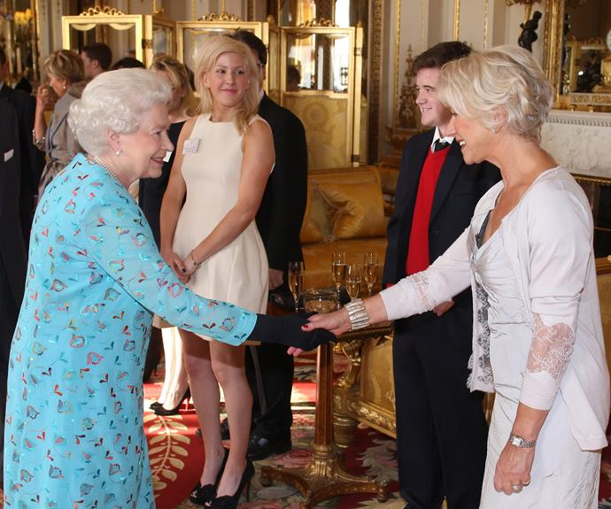 **Dame Helen Mirren, 2011** The Oscar-winning actress, who won for her portrayal as Her Mejesty in *The Queen*, met the real life depiction at a reception for the dramatic arts at Buckingham Palace.