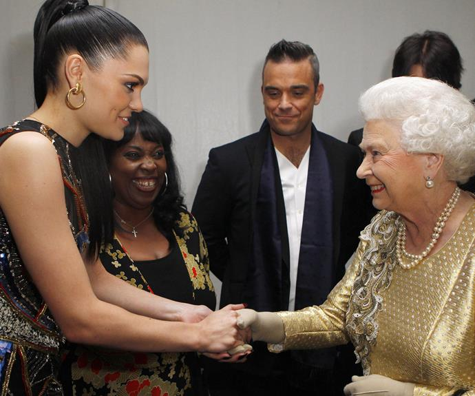 **Jessie J, 2012** The oh-so-talented Jessie J donned a bedazzled jumpsuit to shake hands with Her Royal Highness backstage of the Diamond Jubilee celebrations.