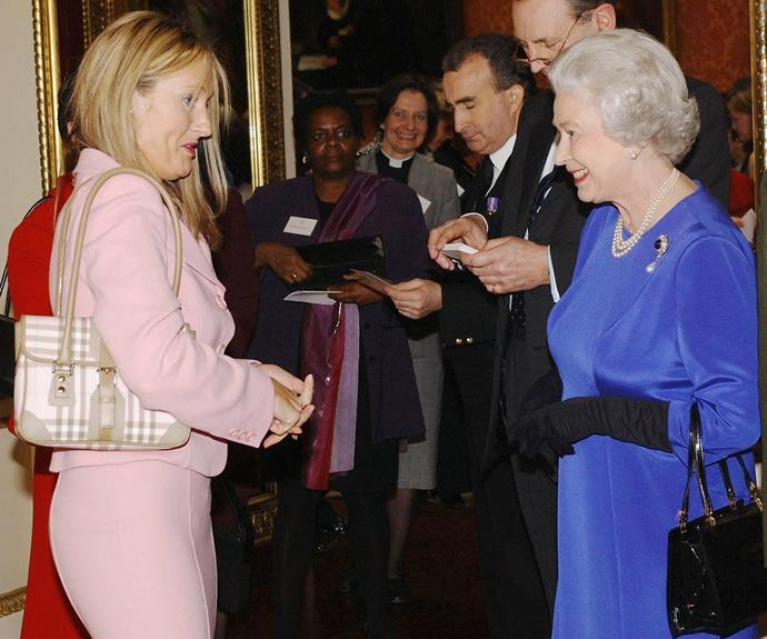 **J.K. Rowling, 2004** The Harry Potter author chats with Her Majesty during a reception to honour Britain's Women Achievers at Buckingham Palace.