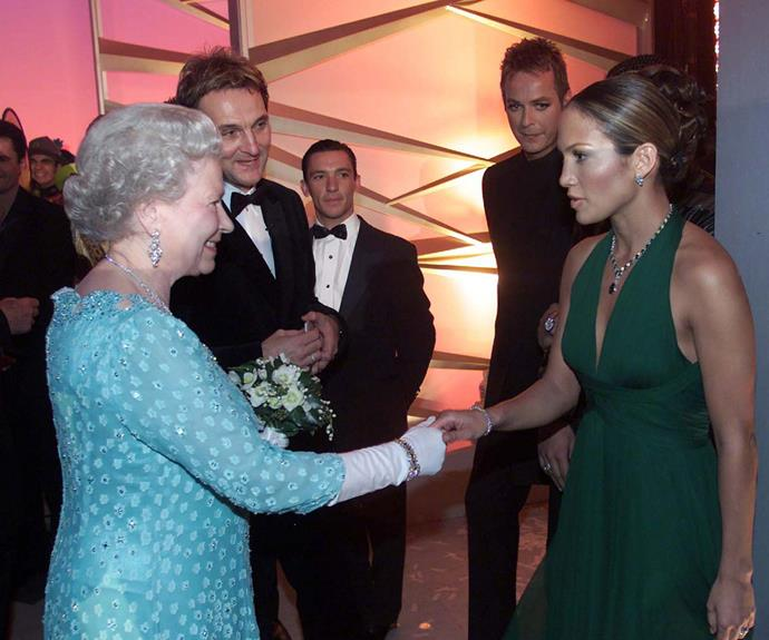 **Jennifer Lopez, 2001** The moment our two Queens met! JLo dazzled in an emerald green, Monroe-style dress to meet Queen Elizabeth at the Dominion Theatre in London.