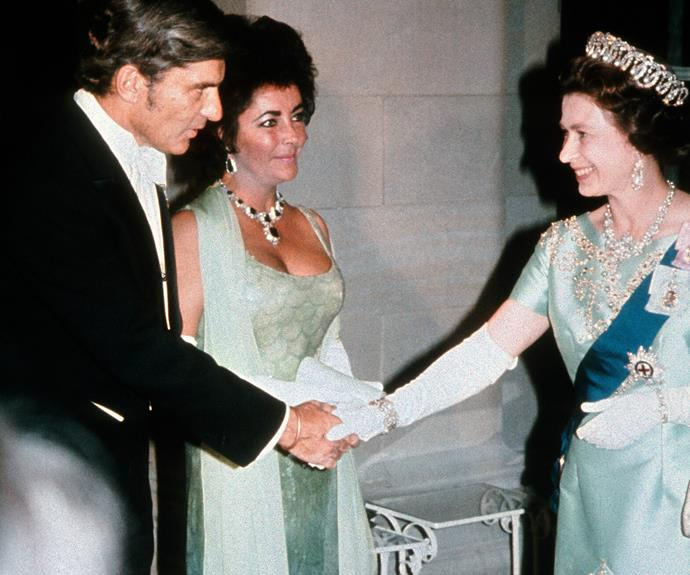 **Elizabeth Taylor, 1976** The two Liz's met wearing similar green hues at a gala dinner in Washington.