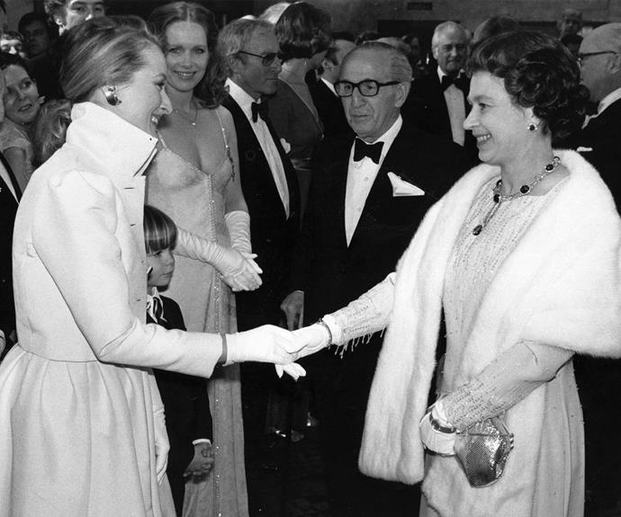 **Meryl Streep, 1980** A young Meryl meets the monarch after a Royal Film Performance of *Kramer vs Kramer* in Leicester Square.