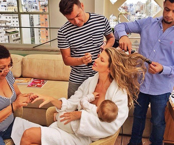 "**Gisele Bundchen** <br><br> The supermodel  proves she's an incredible multi-tasker by getting her hair, makeup and nails done - all while feeding baby Vivian!  <br><br> ""What would I do without this beauty squad after the 15 hours flying and only 3 hours of sleep?"" she shared."