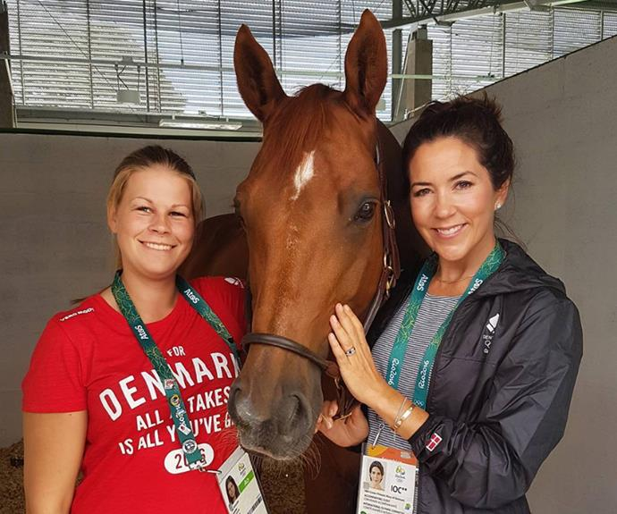 Mary let her love of horses shine through upon visiting Danish dressage rider Mie Poulsen and her horse Cassidy.