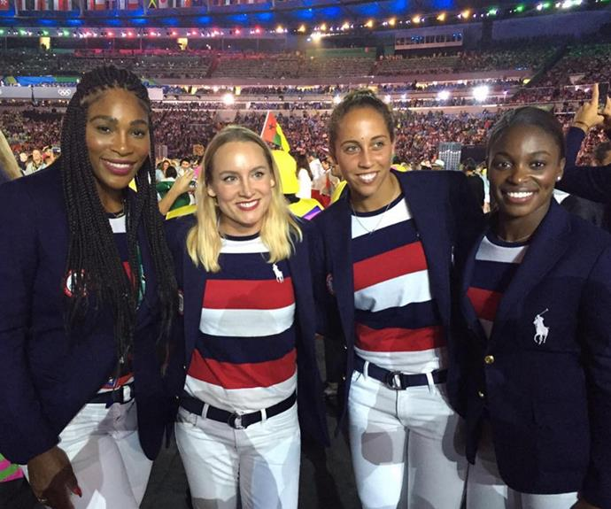 And her sister Serena, who is currently ranked the world's number one, also couldn't help but share a proud snap of her fellow US teammates.