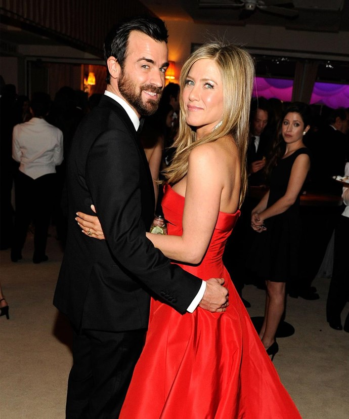 Evidently, love is Jen Aniston's colour!