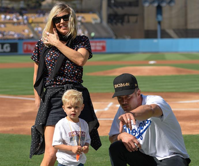 It was a family affair for Fergie, Josh Duhamel and their adorable two-year-old son Axl when they attended the Los Angeles Dodgers vs. the Boston Red Sox game at Dodger Stadium in LA on August 7.