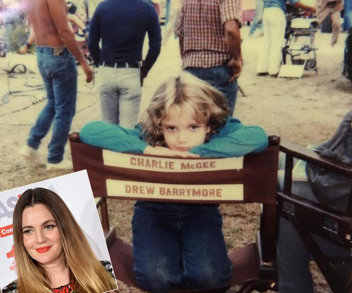 """Drew Barrymore was a star from the start! """"At work on Firestarter 1982, North Carolina. #oldstorageunitday,"""" the 41-year-old penned."""
