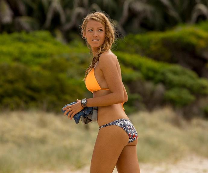 Blake pictured on set of the shark thriller, *The Shallows*, less than a year after welcoming her first daughter James.