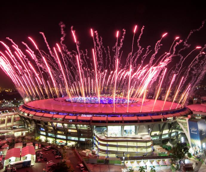 The Maracana Stadium lights up during the Opening Ceremony.