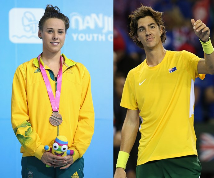 And the Aussies are playing to win too! Swimmer Brianna Throssell (L) was spotted on the app, as was Tennis champ Thanasi Kokkinakis (R).