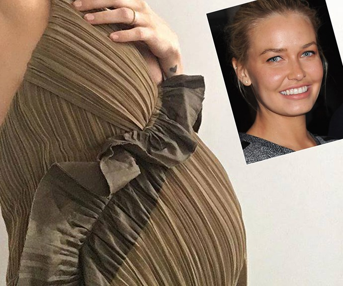 "She's on the home stretch! Pregnant with her second child to husband Sam Worthington, Lara Bingle shared this close-up snap of her growing belly. ""#almostthere #babynumber2,"" the model penned."
