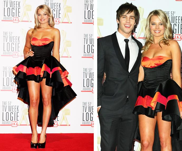 But long before her Oscar nomination glory Margot, pictured with her co star Dean Geyer, was a breakout star on *Neighbours*. We'll never forget the sassy mullet dress she rocked at the 2009 TV WEEK Logie Awards.