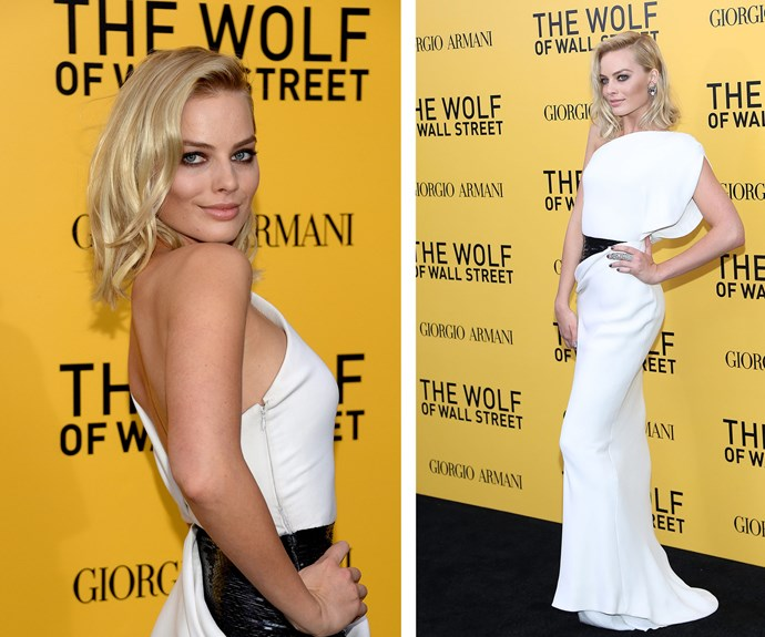 The New York City premiere of *The Wolf of Wall Street* was one of Margot's defining Hollywood moments, and boy did she shine in this one-shouldered white gown.