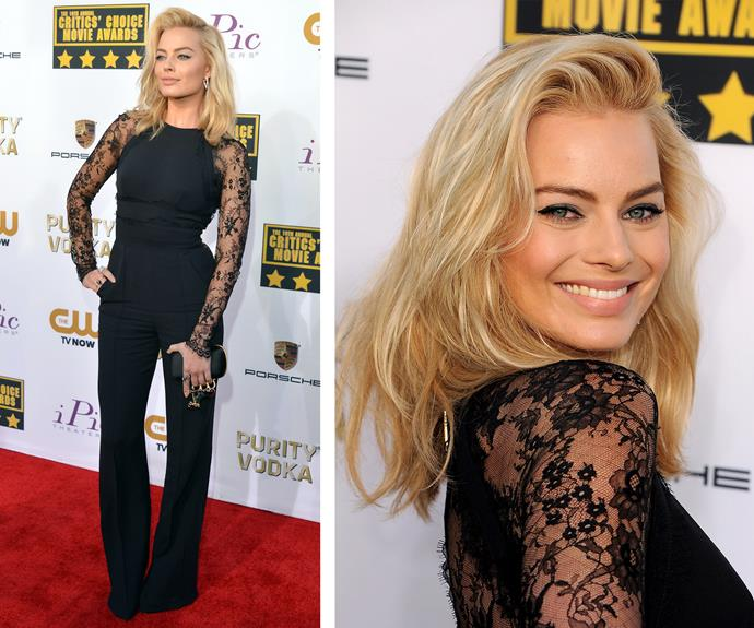 The Aussie beauty proved her edgy side in a lace-paneled jumpsuit at the 2014 Critics' Choice Movie Awards.
