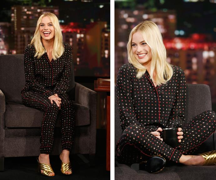 Then, of course, there was that time Margot made pyjamas look like couture while chatting to Jimmy Kimmel.