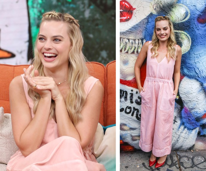 And she looked equally as pretty in pink on the *Suicide Squad* promotional tour, taking some style advice from Dorothy with those statement red pumps!
