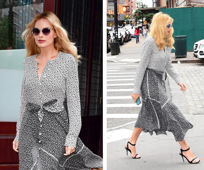 The bombshell gave us total style envy in this monochromatic combo while spotted on the streets of NYC.