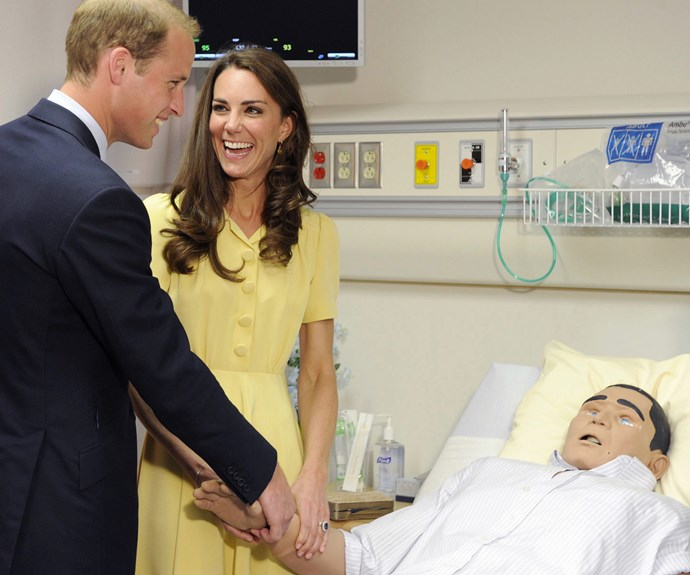 Catherine and William are about to return to Canada as parents but when they first went to the maple-famous nation, the duo were blissfully in love as newlyweds. They couldn't stop giggling as they chatted to a medical test mannequin at the University of Calgary's Ward of the 21st Century in Calgary, back in July 7, 2011.