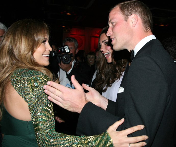 Being starstruck runs in the family... Here, William and Kate share a laugh with JLo.