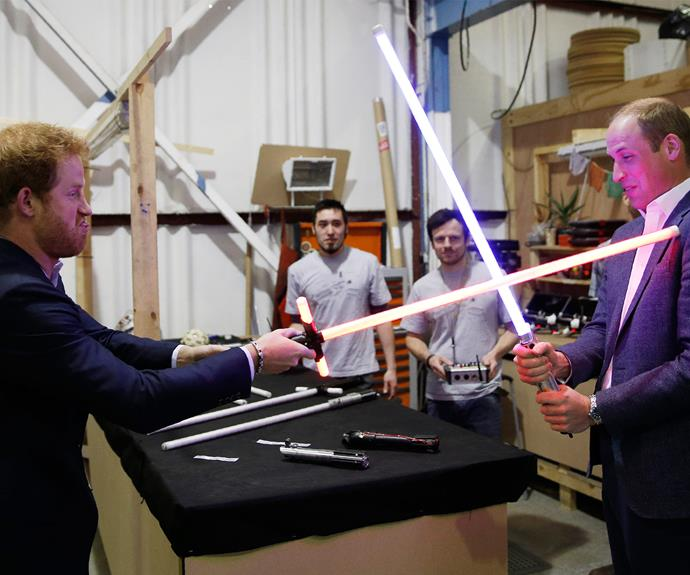 A battle for the books. Last year, the brothers went to the *Star Wars* studio and got their hands on some lightsabers. May the force be with them.