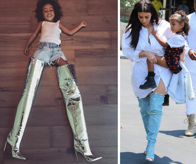 "The apple doesn't fall from the Kardashian tree. Kim shared this adorable pic of North, revealing her eldest is already dipping into her wardrobe, ""Didn't think it would happen this soon...my baby girl stealing my shoes. At least she has good taste #Balenciaga"""