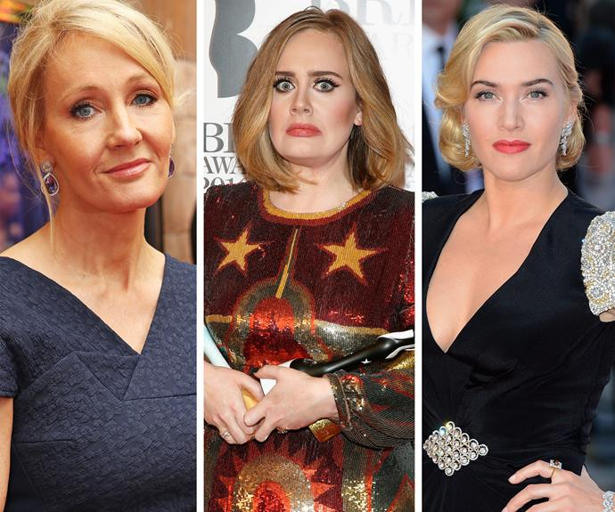 Rounding out the list is JK Rowling, Adele and Kate Winslet.