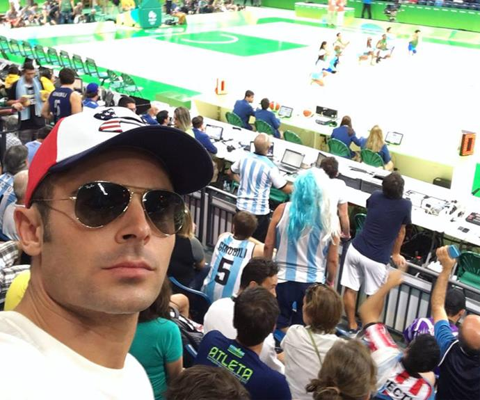 Zac Efron shared this court-side snap from Rio.