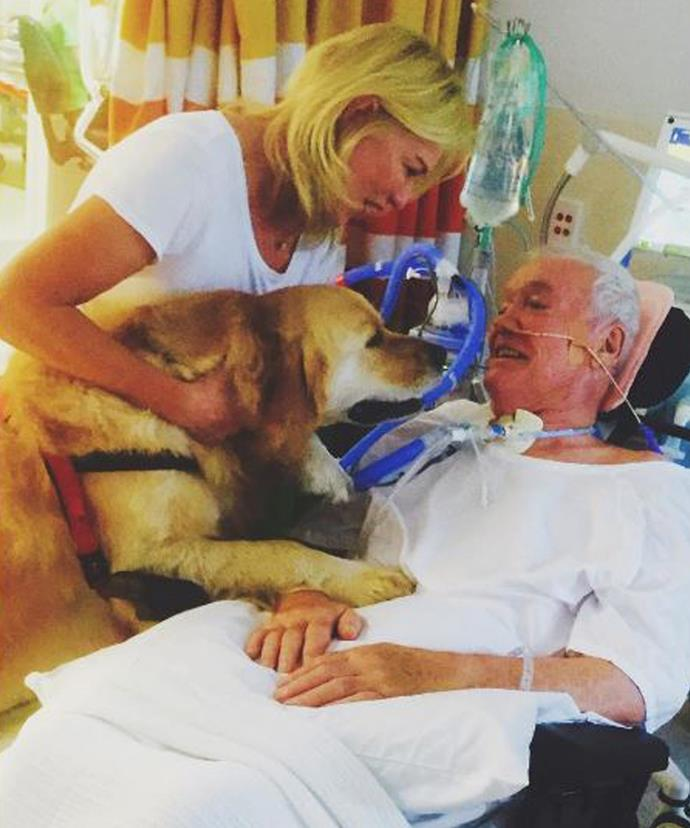 The blonde host said bringing their dog Digger in to see John was amazingly therapeutic for them all.