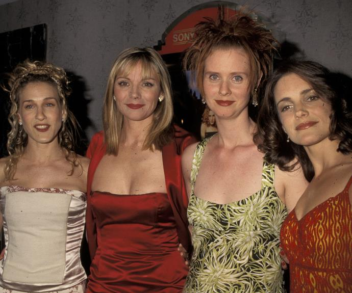 The gang back in 1998, at the screening of their then-new show called *Sex and the City*.