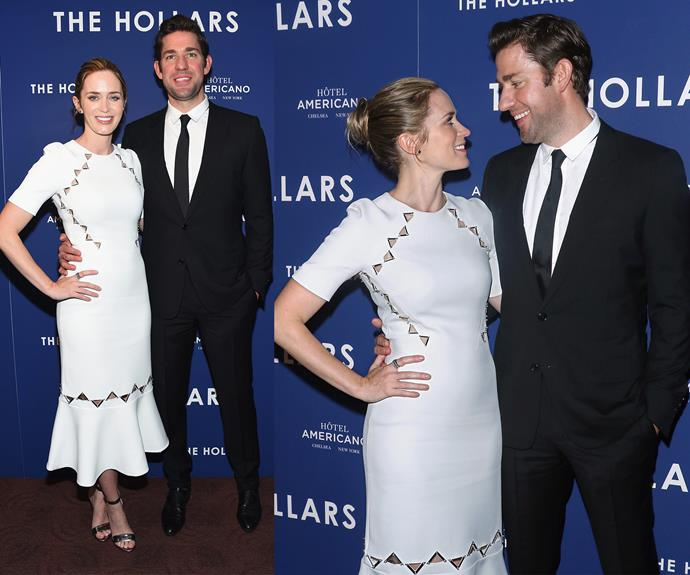 Over the weekend, Emily Blunt made her first red carpet debut since welcoming her second daughter Violet, two months ago. The stunning star accompanied her hubby John Krasinski to a screening of his upcoming film *The Hollars*.