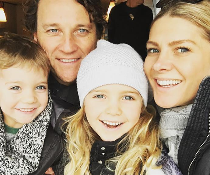 """Natalie Bassingthwaighte's family may look picture-perfect here, but she recently confessed to *Kidspot* that she's had to scoop her three-year-old son, Hendrix, up under her arm and carry him out of the shopping centre mid-meltdown before. """"He saw one of those car rides. I put my two dollars in and then he wanted it to go again. I said no and then he had a complete meltdown... I had a pram in one hand and then had to grab him in the other. I was carrying him horizontally under my arm and he was kicking and screaming. It was great!"""""""
