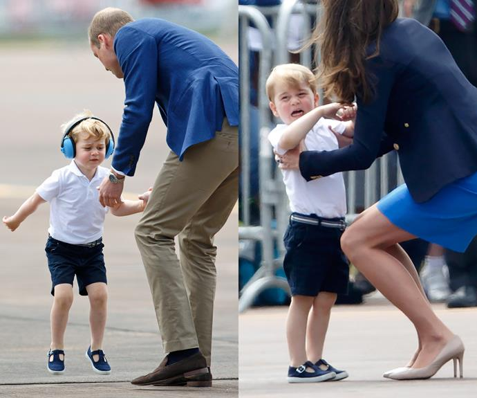 """Even royalty need to roll with the punches when it comes to toddlers - just ask Prince William and Duchess Catherine! At the [Royal International Air Tattoo](http://www.womansday.com.au/royals/british-royal-family/prince-george-goes-to-royal-international-air-tattoo-15886/ target=""""_blank"""") last month, Prince George, three, threw a (royally charming) hissyfit. Not for the first time, according to his dad, who said in the past: """"He's a little bit of a rascal, I'll put it that way... at the moment, bath time is quite painful, but hopefully donning a snorkel and mask might calm him down."""" Proof that parents (even royals) will do anything to avoid a tantrum. Cute!"""
