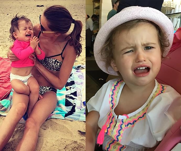 """Rebecca Judd's life may look idyllic on Instagram, but rest assured her little ones throw tantrums just like other kids! The model mum, who's [pregnant with twin boys](http://www.womansday.com.au/celebrity/australian-celebrities/rebecca-and-chris-judd-are-expecting-twins-15144/ target=""""_blank""""), shared snaps of her daughter Billie, two, who was far from from happy at the beach or being declined cupcakes. Bless! Bec's solution? Snap the evidence. Perfect 21st fodder!"""